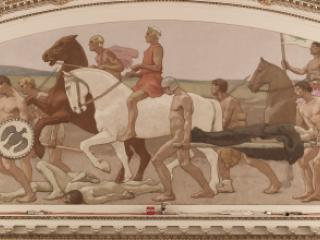Mural of ancient soldiers returning from battle