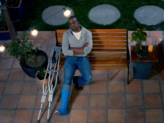 "Keith Powell in ""Keith Breaks His Leg"""