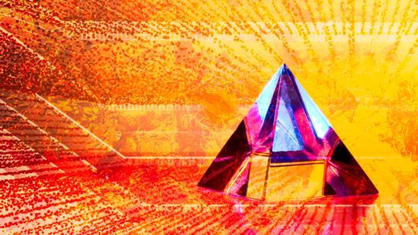 a pyramid among gold