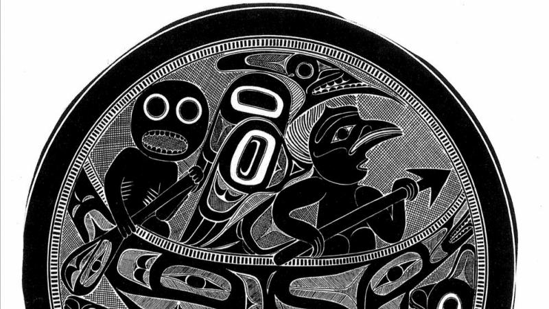 A drawing of a carving by Charles Edenshaw in the late 1800s depicting the Haida myth of the origin of women. Fungus Man is paddling the canoe with Raven in the bow in search of female genitalia. (Courtesy of the Field Museum of Natural History, Chicago)