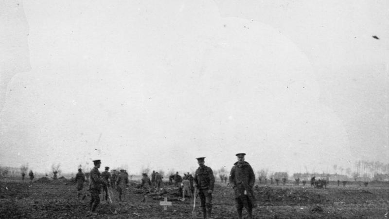 Soldiers on in the battlefield prior to the World War I Christmas Truce