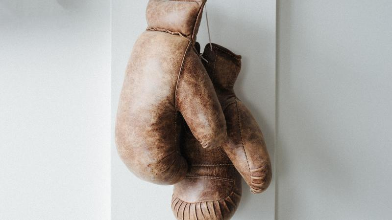 Boxing gloves hung up.