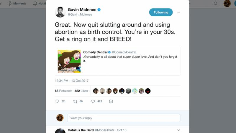 Proud Boys founder Gavin McInnes uses humor in messaging that some people find offensive. McInnes says most women would be happier if they stayed home and raised children.