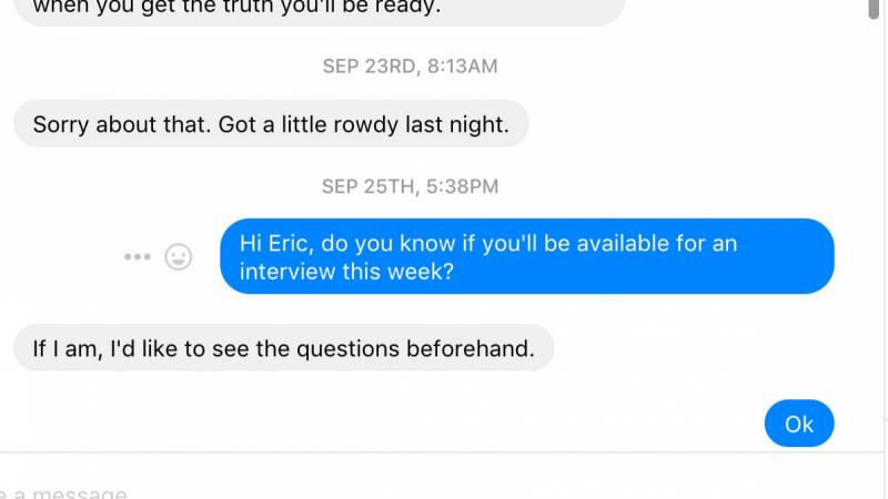 Eric, president of the Wisconsin Proud Boys chapter, sent this message and apology to a Wisconsin Public Radio reporter requesting an interview with him.